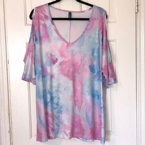 AlleGrace Cold Shoulder Tie Dye Blouse Size 3X